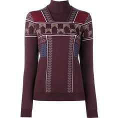 Peter Pilotto geometric turtleneck jumper ($647) ❤ liked on Polyvore featuring tops, sweaters, red, intarsia sweater, turtleneck sweater, geometric sweater, red sweater and red jumper