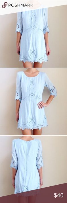 Light Blue Embroidered Dress Dress as shown in photos. Bought on Poshmark new with tag, worn to an event and now re-selling. Marked as large, but fits as a small. Dresses Mini