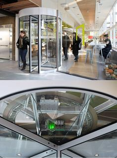 Revolving door generates energy from people coming and going