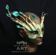 Golden Dryad Mask - Tree Spirit leather mask