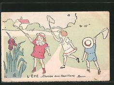 carte postale ancienne: CPA Illustrateur sign.H. Delalain: L'Ete, Chasse aux Papillons, des enfants fangen Schmetterlinge