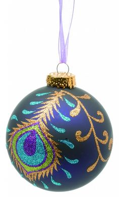 Peacock christmas decoration/thinking of Shanna Peacock Christmas Decorations, Peacock Christmas Tree, Peacock Ornaments, Purple Christmas, Painted Ornaments, Handmade Ornaments, Christmas Baubles, Christmas Colors, Holiday Ornaments