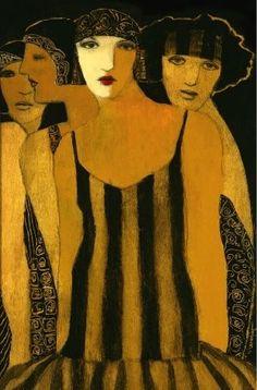 Art Decó style ~ by Cynthia Markert  ~ 'Four Women'