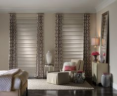 Provence woven wood shades give this master bedroom a sophisticated look!  #hunterdouglas #wovenwood