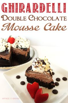 Ghirardelli Double Chocolate Mousse Cake - Happiness is Homemade