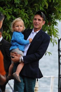Andrea Casiraghi and his son, Sasha and wife have arrived in Italy for the wedding between Pierre Casiraghi and Beatrice Borromeo.