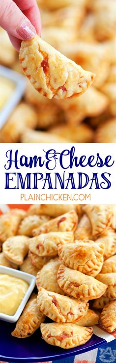 Ham and Cheese Empanadas - CRAZY good! Pie crust filled with a yummy ham and cheese filling and baked. Great for watching football and parties. Can make ahead of time and freezer for later. Ham, cheddar cheese, swiss cheese, cream cheese, dijon, Worcestershire, brown sugar, onion, pie crust. These things fly off the plate! SO good!! LOVE these savory hand pies!!