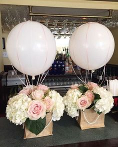 "23 Easy-To-Make Baby Shower Centerpieces & Table Decoration Ideasblue balloon baby block baby shower centerpieceHot Air Balloons & Nets 16 "", Balloons Bridal Shower Baby Shower Birthday Party Gender Reveal Bon Voyage Table Centerpiece"