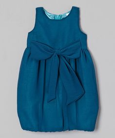 Take a look at this Blueberry Twirl Teal Bow Rachel Bubble Dress - Toddler & Girls on zulily today!