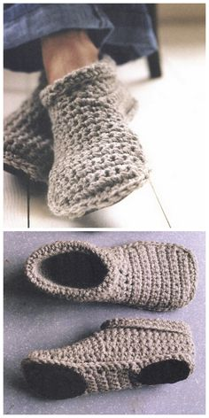 DIY Sturdy Crochet Slipper Boots Free Pattern from SMP Craft. (True Blue Me and You: DIYs for Creatives) : DIY Sturdy Crochet Slipper Boots Free Pattern from SMP Craft. I really like the look of these slippers…For more Free knitting ideas, head to ww Knit Or Crochet, Crochet Crafts, Crochet Baby, Easy Crochet Socks, Knitted Socks Free Pattern, Crochet Vests, Quick Crochet, Crochet Shirt, Crochet Stitch