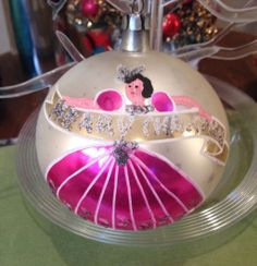 Large Hand Blown & Painted POLAND Merry Christmas Ornament