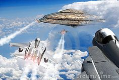 F15 fighters over the clouds, going to a close encounter with an UFO just in front of them.