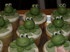 "Frog cupcake for ""Princess & Frog"" themed party - MMF Frogs on vanilla cupcake iced in BC"