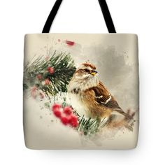 "American Tree Sparrow Watercolor Art Tote Bag by Christina Rollo (18"" x 18"").  The tote bag is machine washable, available in three different sizes, and includes a black strap for easy carrying on your shoulder.  All totes are available for worldwide shipping and include a money-back guarantee."