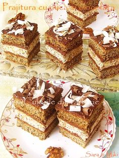 Nuts and Chocolate Cake Romanian Desserts, Romanian Food, Romanian Recipes, Sweets Recipes, Cake Recipes, Delicious Desserts, Yummy Food, Dessert Drinks, Food Cakes