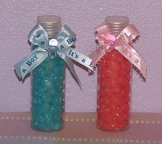 Use m&m's or jelly beans. I think it would be cute in a baby bottle as favors!
