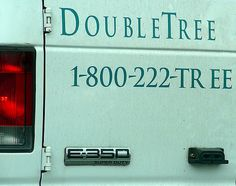 Double tree and double space!  Whoops! Also, more equal spacing on double tree is needed . The T and the r look awkward.