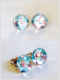 Tiny stud earrings Confetti pastel bright, glitter resin studs, glitter stud earrings, tiny stud earrings, pastel glitter studs, glass stud by skietromart on Etsy https://www.etsy.com/listing/233723351/tiny-stud-earrings-confetti-pastel