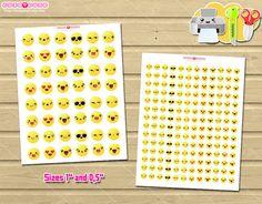 Emoji Printable planner stickers, Kawaii emoticons stickers for your Erin condren, Mambi happy planner printable, filofax, kikki k