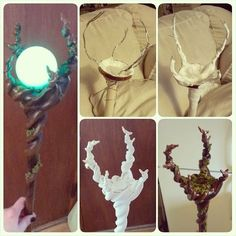 Staff I whipped up last night to complete my Maleficent costume! 2 dowells, wire, a spaghetti jar lid, and clay. Donezo. It's about 4' tall and the glowing orb is soooo cool in person! My phone didn't want to capture the color very well. #cosplay...