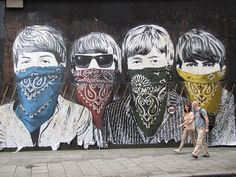 The Beatles... Street art in London: #streetart #graffiti #mural seen this it's brilliant
