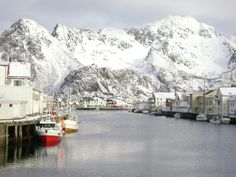 Norway - Harbor and Mountain (from   MY LOFOTEN ISLANDS ADVENTURE - By Martina Mc Auley); You might think, why in the name of God would I want to go to a hard to get to, small group of islands, off the west coast of Norway? Well, I'd heard that the scenery in the Lofoten Islands was stunning and that it was also a great place to see the Northern Lights, which was actually my main reason for going there.