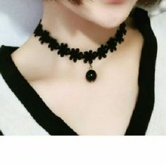 Black or white  Lace Flower Tattoo Choker Necklace Black or white  Lace Flower Tattoo Choker Necklace with White Black Beads Pendant Collier Jewelry Necklaces
