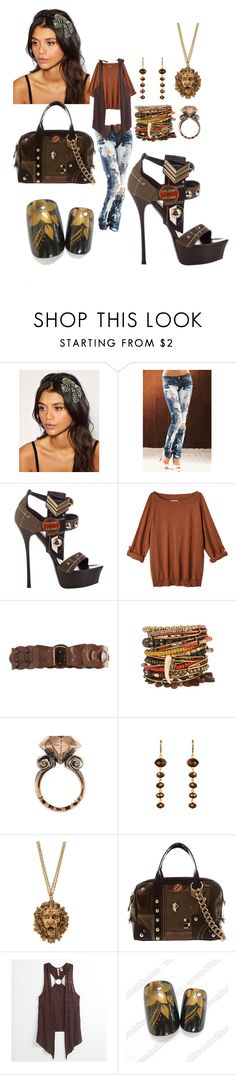 """Foxy Brown"" by sonniej ❤ liked on Polyvore featuring Lipsy, Gianmarco Lorenzi, Toast, Motif 56, Hoorsenbuhs, Kenneth Jay Lane, PacSun and Pieces"