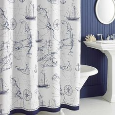 Uphome Shabby Cape Island Map Bathroom Shower Curtain   Navy And White  Nautical Style Pattern Polyester Fabric Kids Decorative Curtain Ideas X