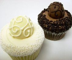 Bride and Groom Truffle Cupcakes