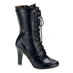"""4"""" hidden platform heel steampunk 10 gear eyelet calf boots"""