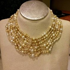 OOAK RePurposed Mixed Pearl Egyptian Collar Bib by holyinspired