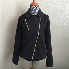 Lululemon Moto Jacket Lululemon Moto jacket with gold zippers. Thick wool like fabric. Top front zipper pocket holds my iPhone 6S Plus! New With Tags lululemon athletica Jackets & Coats