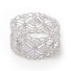18K White Gold Diamond Lace Bracelet