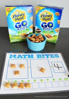 Teach Your Child Addition at Snack Time with Free Printable Math Bites Worksheet Kindergarten Math Games, Math Activities For Kids, Fun Math Games, Preschool Games, Teaching Math, Learning Games, Maths, Dice Games, Therapy Activities