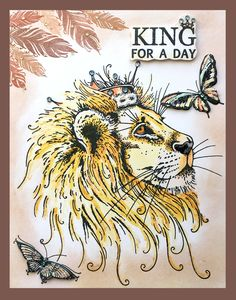 Lion stamp with bonus fabric Watercolor Fabric, Watercolor Cards, Fabric Painting, Card Crafts, Paper Crafts, Colouring, Coloring Books, Big Cats Art, Lavinia Stamps