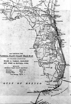 Map showing the Florida East Coast Railway and steamship connections. Circa 1910.