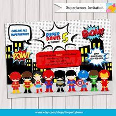 Super Hero Birthday Party - Pop Art Superhero Invitation - Invite Card - Comics Pop art -Personalized Printable pdf