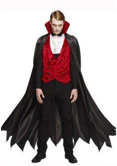 Een heren vampieren kostuum in drakula stijl. Het kostuum is een driedelige set; de zwarte lange cape met rode velourse kraag, rode gillet en witte das. De cape kan vastgemaakt worden aan het gillet door middel van klittenband. Dit vampieren kostuum voor heren is een productie van Smiffy's.
