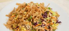Chinese chicken salad with cabbage, carrots, scallions, peanuts ...