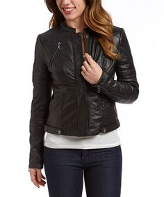 Look at this Sam Edelman Black Leather Zip-Up Jacket on #zulily today!