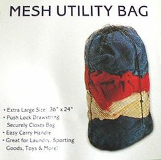 Mesh Utility Red Laundry Bags 36 x 24 -THREE PACKS by Laundry Essentials. $6.25. The mesh laundry bag can be used for laundry, camping or storage. The perfect mesh laundry bag for dorm or apartment living! Store and carry your laundry with ease using this roomy 100% mesh laundry bag with a drawstring closure.