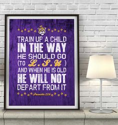 """LSU Louisiana State Tigers inspired """"Train Up A Child"""" ART PRINT, Sports Wall Decor, kids room/baby room gift, Unframed"""
