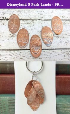 Disneyland 5 Park Lands - PRESSED PENNY - KEY RING. This is a KEY RING made of smashed copper pennies from Disneyland CA. These coins were collected on a family vacation. Main Street, Fantasy Land, Frontier Land, Tomorrow Land, New Orleans Square. KEY RING measures 3 inches and topped with silver key ring. This is a collector edition bracelet. These coins can be hard to come by since the machines are only located in Disneyland and often rotate in the arcade. Super Fun and Very Unique…