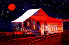 night time blues-watercolor- gary walters