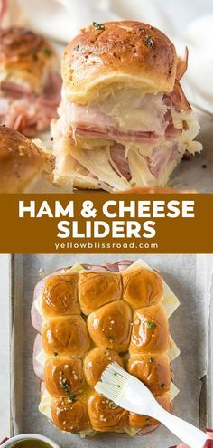 Ham and Cheese Sliders are Hawaiian rolls layered with ham, cheese and brushed with garlic butter. Easy to make for a family dinner or party appetizer. dinner ideas Garlic Butter Ham and Cheese Sliders Ham And Cheese Sliders Hawaiian, Ham Cheese Sliders, Ham Cheese Rolls, Sandwiches With Hawaiian Rolls, Recipes With Hawaiian Rolls, Ham Rolls, Easy Dinner Recipes, Easy Meals, Easy Dinner For Party