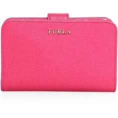 Furla Babylon Leather Bifold Wallet (230 AUD) ❤ liked on Polyvore featuring bags, wallets, apparel & accessories, pink, leather wallets, leather bags, leather bifold wallet, leather snap wallet and snap closure wallet