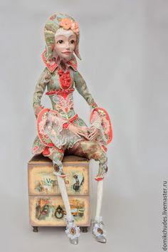 Handmade art doll / Коллекционные куклы ручной работы. Ярмарка Мастеров - ручная работа. Купить Венесия. Handmade. Жаккард, туфли, пайетки пришивные