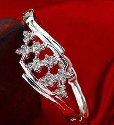 Silver Plated Rhinestone Flower Cuff Bracelet Bangle For Women, TripleClicks, SFI Cameo Jewelry, Jewelry Armoire, Custom Jewelry, Jewelry Design, Women's Jewelry, Metal Jewelry, Crystal Jewelry, Crystal Necklace, Bangle Bracelets