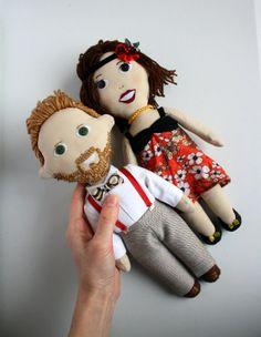 Pareja de muñecos de trapo personalizados hechos a mano por encargo, regalo original